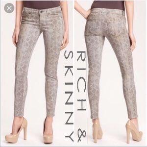 Rich & skinny python print jeans size 28